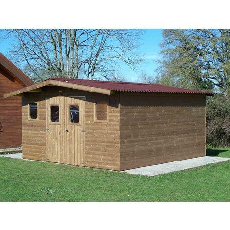 Abri THERMABRI madriers sans plancher, toit double pente 19,69 m²