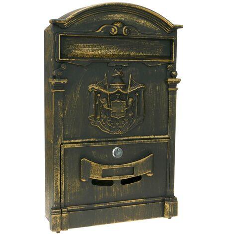 PrimeMatik - Boîte aux lettres rétro antique vintage métallique coloré oxyde pour mur