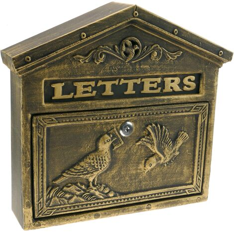 PrimeMatik - Boîte aux lettres rétro antique vintage fonte coloré oxyde pour mur oiseaux