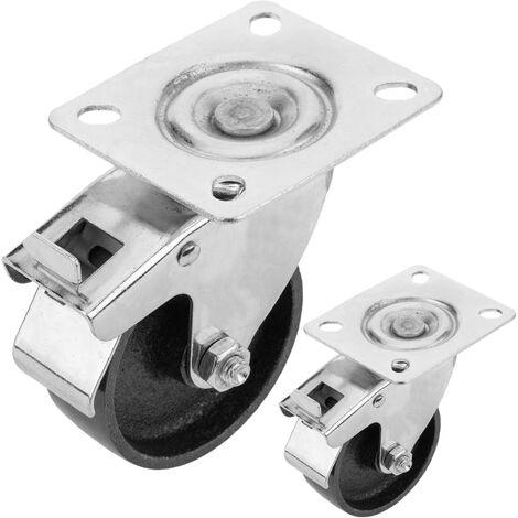 PrimeMatik - Roulettes industrielles de métal avec frein 75 mm 2 unités