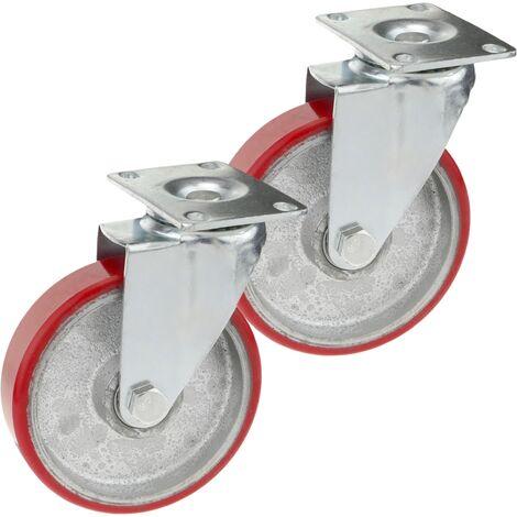 PrimeMatik - Roulettes industrielles en polyuréthane et métal sans frein 125 mm 2 unités