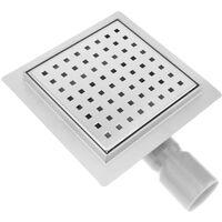 PrimeMatik - Caniveau de drainage de douche carré 15 cm en acier inoxydable avec grille