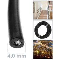 BeMatik - Câble en acier inoxydable de 4 mm. Bobine de 50 m. Plastifié noir