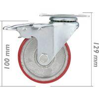 PrimeMatik - Roulettes industrielles en polyuréthane et métal avec frein 100 mm 2 unités