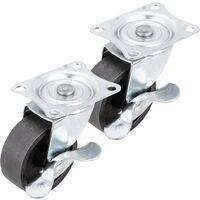 PrimeMatik - Roulettes industrielles pivotantes en métal avec frein 50 mm 2 unités