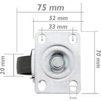 PrimeMatik - Roulettes industrielles de métal sans frein 50 mm 4 unités