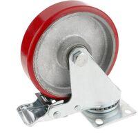 PrimeMatik - Roulettes industrielles en polyuréthane et métal avec frein 125 mm 2 unités