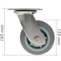 PrimeMatik - Roulettes industrielles en polyuréthane sans frein 125 mm 2 éléments