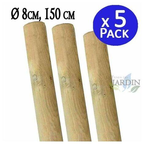 Tutor de madera sin punta 150 cm, diámetro 8 cm. 5 unidades