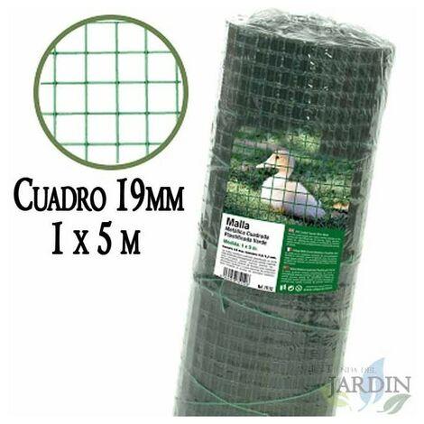 Malla verde metálica, cuadro 19mm. Valla plastificada 1 x 5 metros