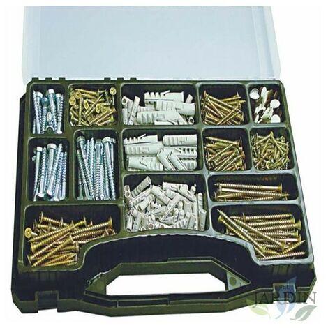 Kit tirafondos, tornillos y tacos. 620 piezas