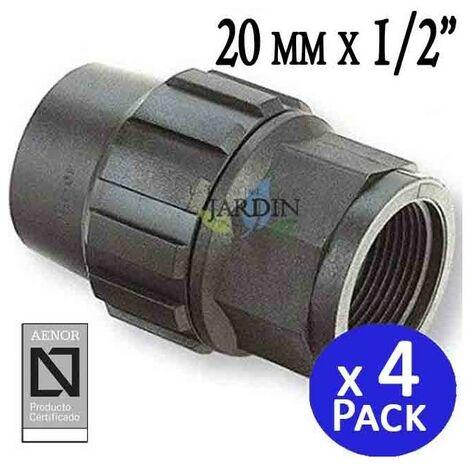 """Enlace hembra Polietileno 20mm x 1/2"""" (pack 4). Producto con certificado AENOR utilizado en tuberias PE 20 mm"""