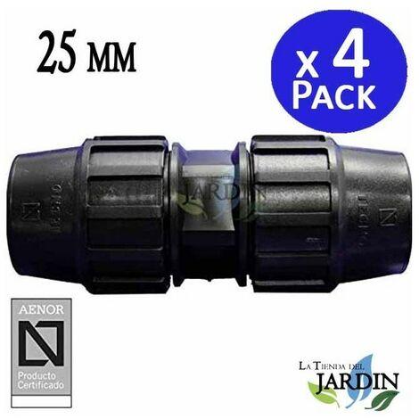 Enlace Manguito Polietileno 25mm (pack 4). Producto con certificado AENOR utilizado para unir tuberias PE 25 mm