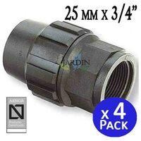 """Enlace hembra Polietileno 25mm x 3/4"""" (pack 4). Producto con certificado AENOR utilizado en tuberias PE 25 mm"""