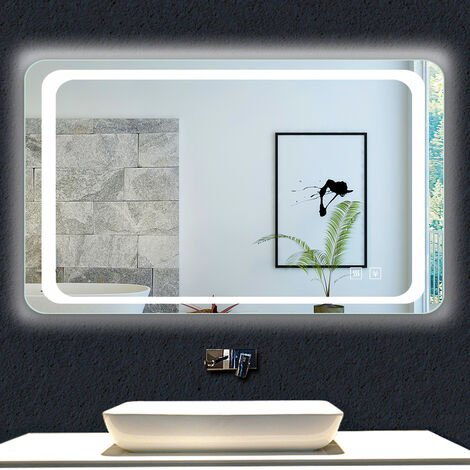 OCEAN Miroir de salle de bain 80x60cm anti-buée miroir mural avec éclairage LED modèle Classique plus