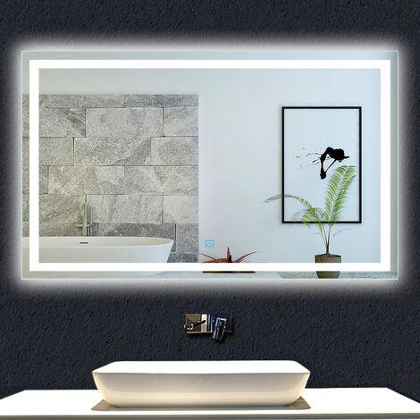 """main image of """"OCEAN Miroir de salle de bain 120x70cm anti-buée miroir mural avec éclairage LED modèle Carré"""""""