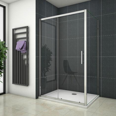 Cabine de douche 100x100x190cm porte de douche + paroi latérale