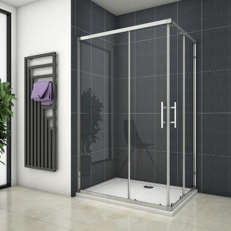 Cabine de douche 80x90x195cm en 6mm verre anticalcaire porte de douche coulissante l'ccès d'angle