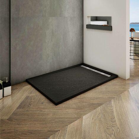 Océan 100x90cm receveur de douche à poser extra-plat - Noir