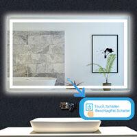 OCEAN Miroir de salle de bain 80x60cm anti-buée miroir mural avec éclairage LED modèle Carré
