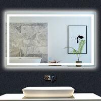 OCEAN Miroir de salle de bain 90x60cm anti-buée miroir mural avec éclairage LED modèle Carré