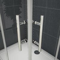 Cabine de douche 70x120x195cm en 6mm verre anticalcaire porte de douche coulissante l'ccès d'angle