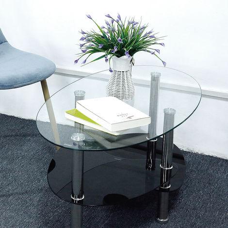 Tavolino Da Salotto Con Ripiano In Vetro Stile Moderno 90 X 50 X 43 Cm