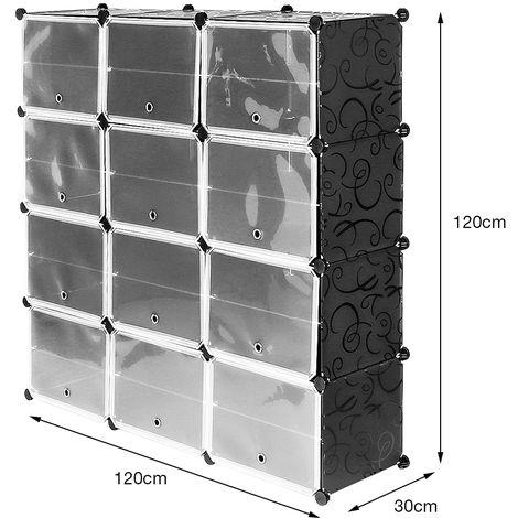 Semplice Armadio Scarpiera Salva Spazio In Plastica Molto Ampio E Spazioso 12 Cubi 126x32x127cm Scaffale Portaoggetti