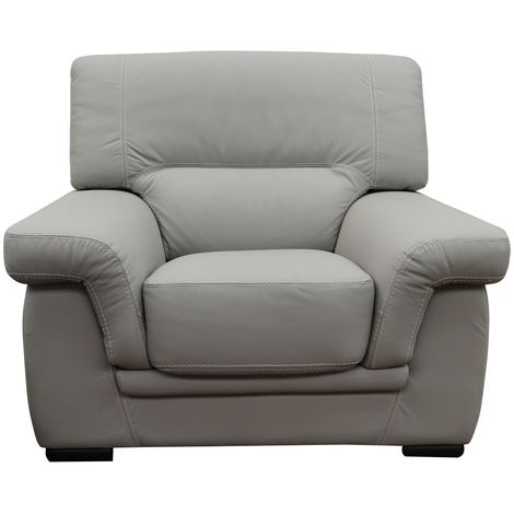 Perugia Armchair Contemporary Italian Leather Sofa Light Grey