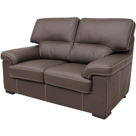 Patrick Contemporary 2 Seater Sofa Chocolate Brown Italian Leather