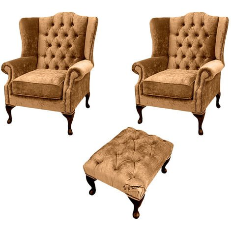 Chesterfield 2 x Mallory Wing chairs + Footstool Harmony Gold Velvet Sofa Suite Offer