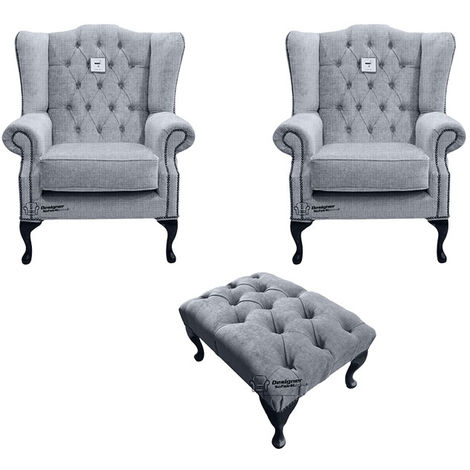 Chesterfield 2 x Mallory Wing chairs + Footstool Verity Plain Steel Fabric Sofa Suite Offer