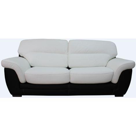 Daniel 3 Seater Italian Leather Contemporary Sofa Black White