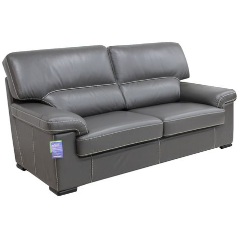 Patrick Contemporary 3 Seater Sofa Grey Italian Leather