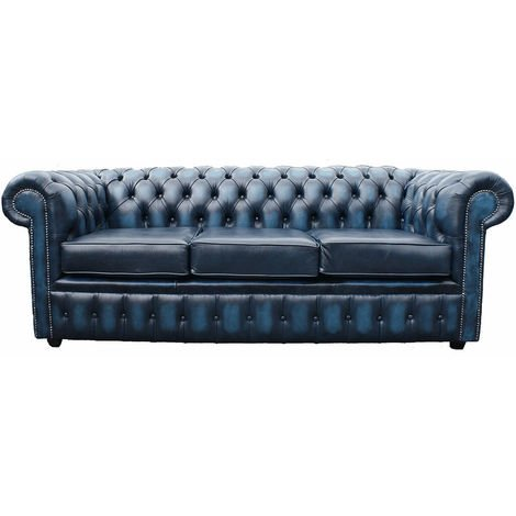Chesterfield 3 Seater Sofa Bed Antique Blue
