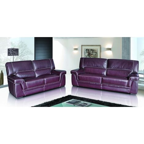 Perugia 3+2 Contemporary Italian Leather Sofa Suite Burgandy