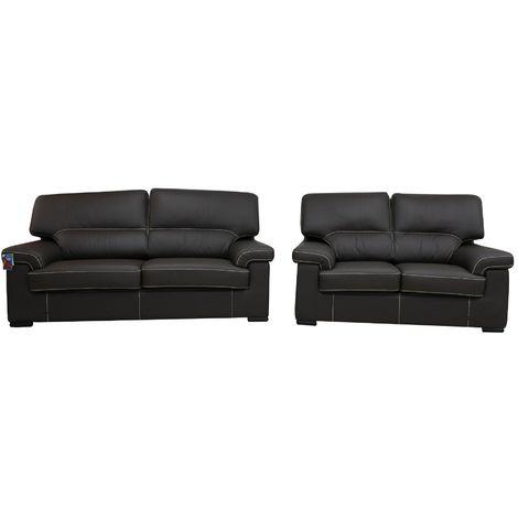 Patrick Contemporary 3+2 Italian Leather Sofa Suite Chocolate Brown