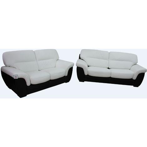 Daniel 3+2 Contemporary Italian Leather Sofa Suite Black White