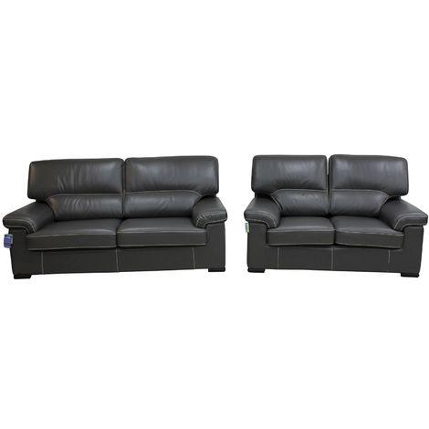 Patrick Contemporary 3+2 Italian Leather Sofa Suite Grey