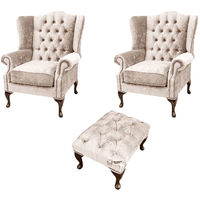 Chesterfield 2 x Mallory Wing chairs + Footstool Harmony Ivory Velvet Sofa Suite Offer