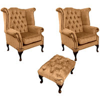 Chesterfield 2 x Queen Anne Chairs + Footstool Harmony Gold Velvet Sofa Suite Offer
