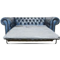 Chesterfield 2 Seater SofaBed Settee Antique Blue leather