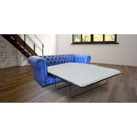 Chesterfield Thomas 3 Seater Settee Deep Ultramarine Blue Leather SofaBed Offer
