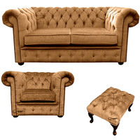 Chesterfield 2 Seater Sofa + Club Chair + Footstool Harmony Gold Velvet Sofa Suite Offer