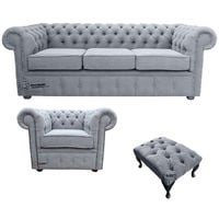 Chesterfield 3 Seater Sofa + Club Chair + Footstool Verity Plain Steel Fabric Sofa Suite Offer