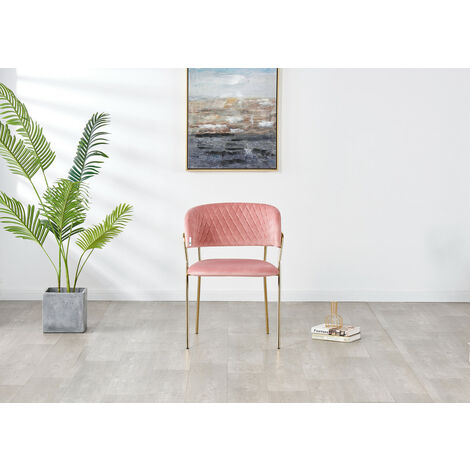 ATARAH LUX VELVET DINING CHAIR | Modern Dining Chair | Velvet Fabric (PINK)