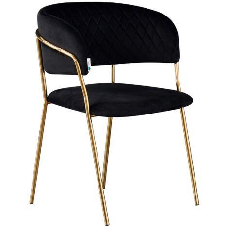 ATARAH LUX VELVET DINING CHAIR   Modern Dining Chair   Velvet Fabric (BLACK)