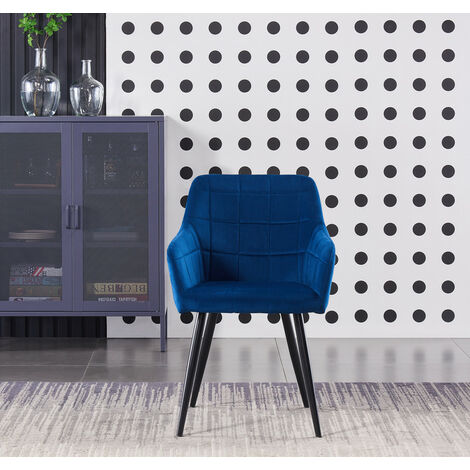 Camden LUX Velvet Chair   Square Stitched Design   Modern Dining Chair   Cushion Padded  ROYAL BLUE
