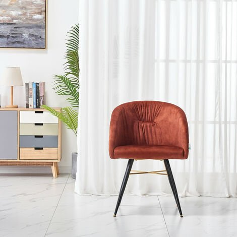 Vittario velvet LUX chair | Padded Cushioned seating | Diamond Stitched Back | Dining Chair | Tufted Velvet Chair | RUST