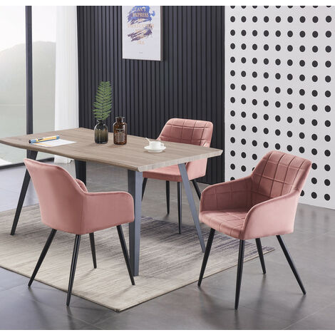 Camden & Rocco LUX Dining Set | Modern Dining Table | Velvet Finish Chairs (WALNUT TABLE & PINK)